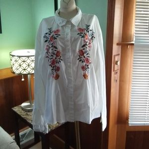 Floral Embroidered White Button Down.